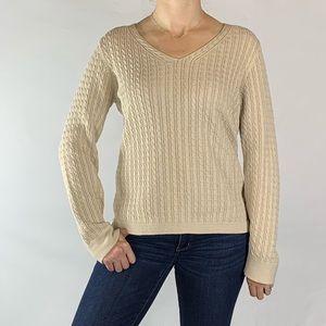 Talbots Khaki Cable Knit Sweater Medium